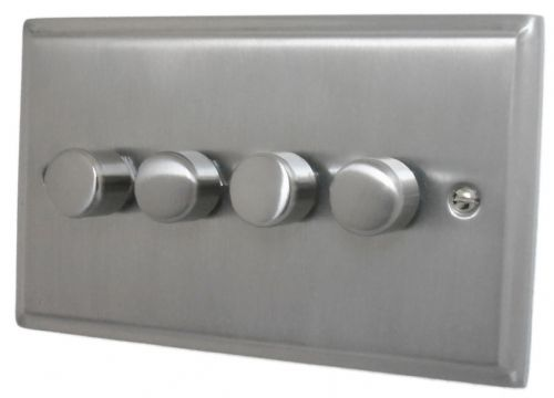 G&H DSN14 Deco Plate Satin Nickel 4 Gang 1 or 2 Way 40-400W Dimmer Switch